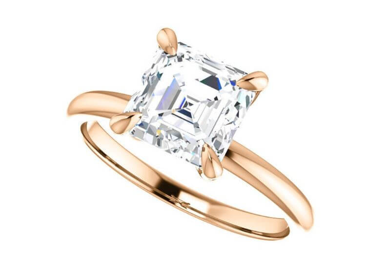 Ascher cut diamond setting